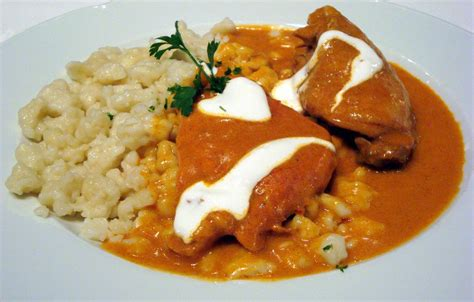 chicken paprikash with nokedli csirke paprikas recipe dishmaps