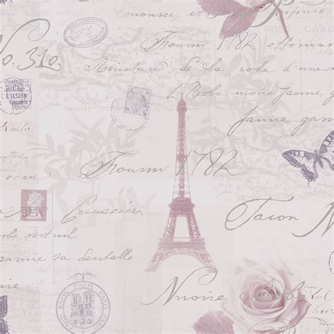 Eiffel Tower Wall Mural holden calligraphy paris vintage french postcard wallpaper