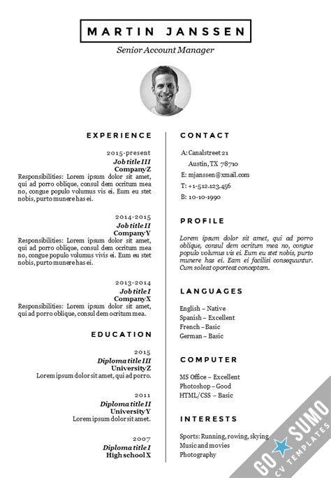 Cv Resume Template Malmo Docx Pptx Gosumo Cv Template With Picture
