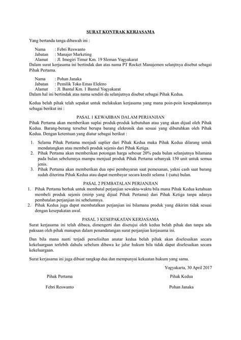 contohsurat kontrak bisnis download contoh surat kontrak kerjasama berbagai bidang usaha