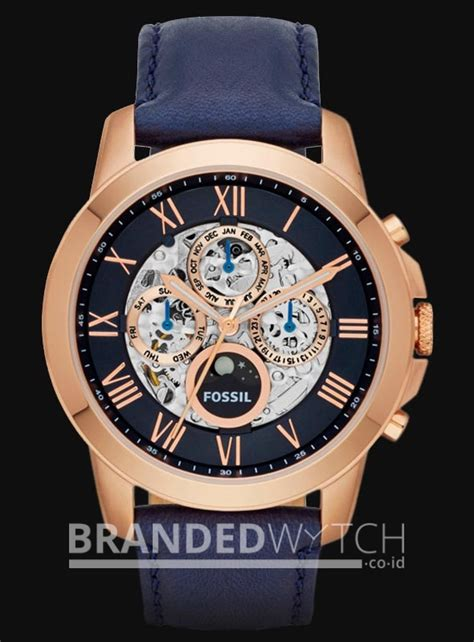 Jam Tangan Fossil Me 3029 Grant Automatic fossil me3029 grant skeleton automatic chrono navy gold brandedwatch co id