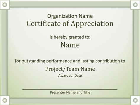 certificate of appreciation template powerpoint certificates office