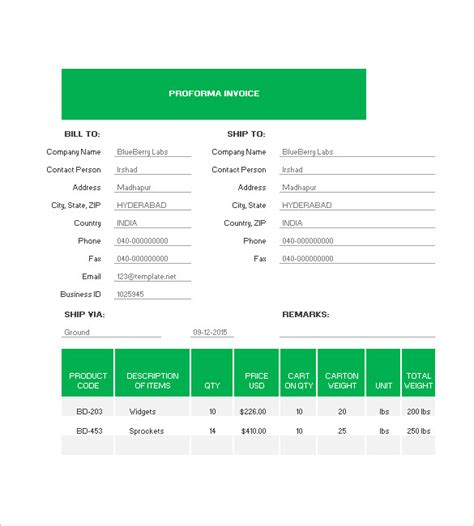 Pro Forma Template Excel by Proforma Invoice Template Excel Invoice Exle