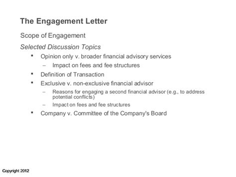 Bank Engagement Letter investment bank engagement letters selected discussion
