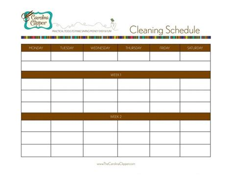 search results for printable cleaning schedule