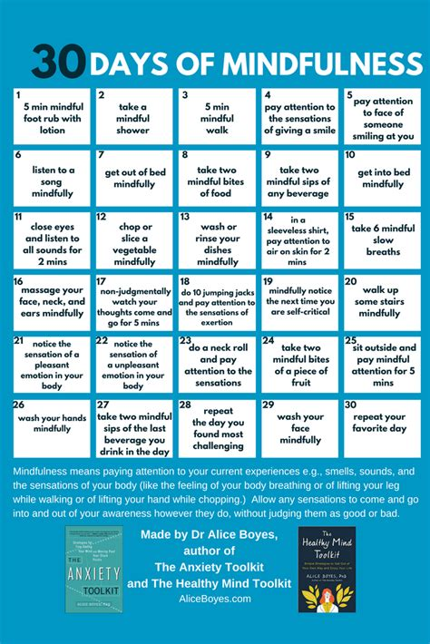 30 Days Of 30 days of mindfulness printable pdf dr boyes