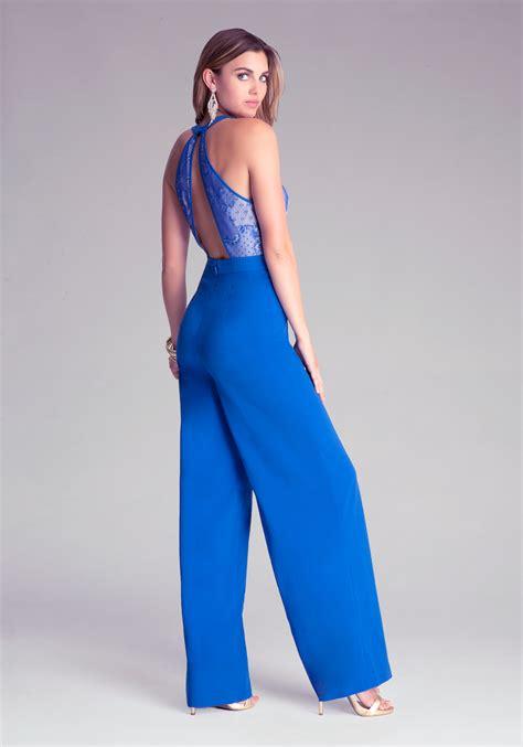 Jumpsuit Blue lyst bebe lace bodice wide leg jumpsuit in blue