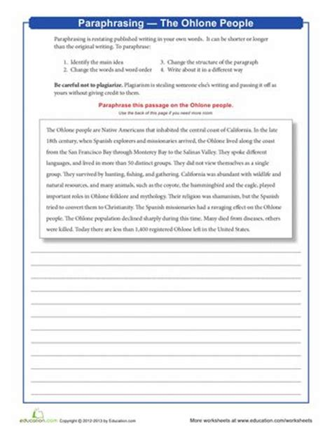 Paraphrase Worksheet by Paraphrasing The Ohlone The O Jays Worksheets