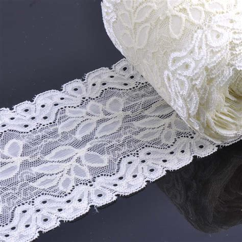 leaf pattern lace fabric 10cm width white springy embroidered leaf pattern lace