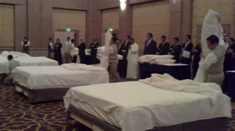 bed making by the staff picture of hotel goldi sands bed making contest four seasons hotel riyadh youtube