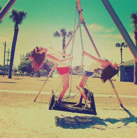 is swinging fun color crazy friends friendship fun girl image