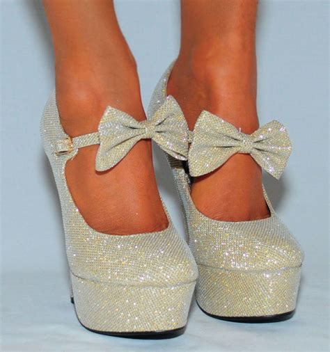 silver high heels with bows glitter sparkly janes bow ankle from saffron109 on ebay