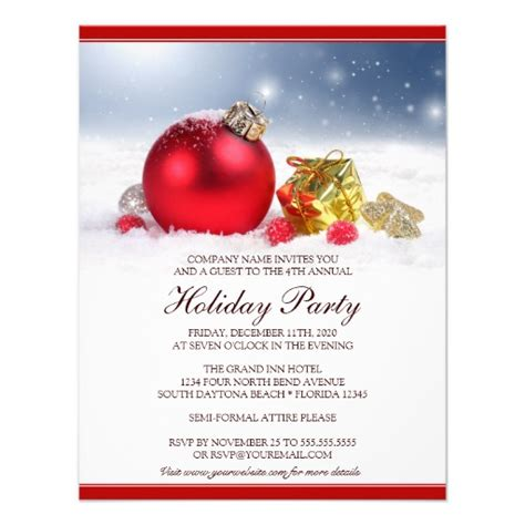 festive corporate holiday party invitation zazzle