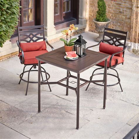High Patio Dining Sets Hton Bay Middletown 3 Motion High Patio Dining Set With Chili Cushions D11200 3pc The