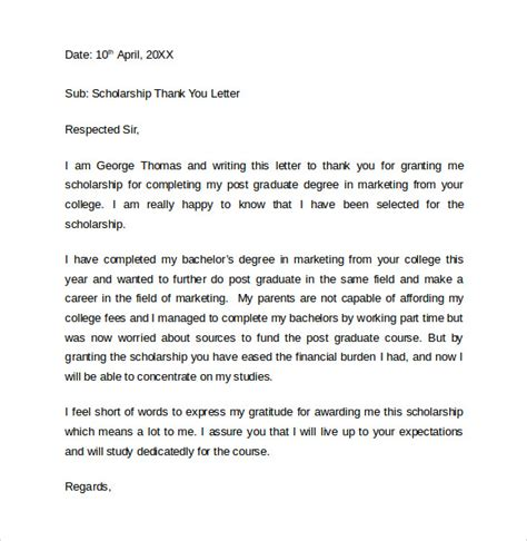 Thank You Letter Format For Scholarship Sle Thank You Letter For Scholarship 9 Free Documents In Pdf Word