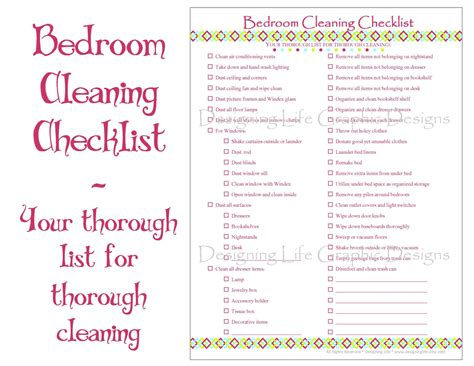 daily bedroom cleaning checklist bedroom cleaning checklist pdf printable by designinglife