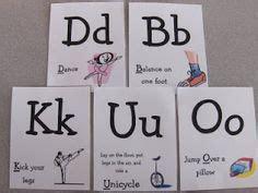 printable alphabet movement cards preschool movement cards