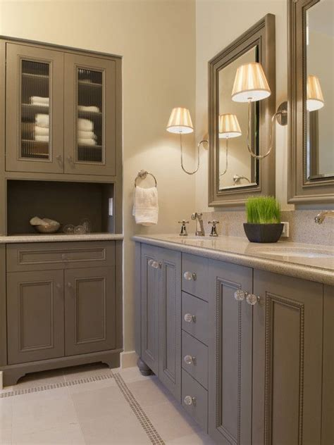 Built In Bathroom Furniture Grey Painted Bathroom Cabinets Bathrooms Pinterest