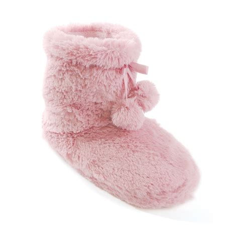 fluffy boot slippers womens fluffy fleece lined plain boot slippers