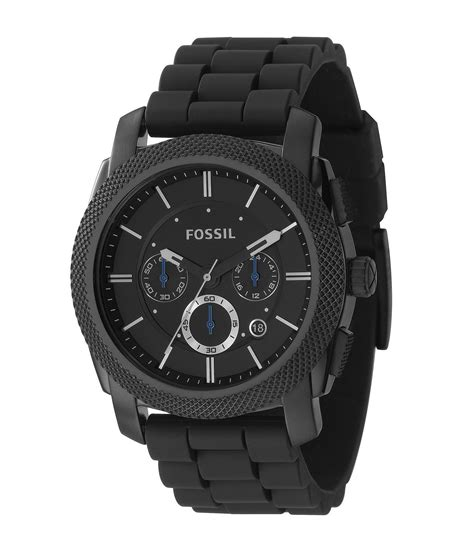 Fossil Kulit Black Limited fossil machine silicone black chronograph