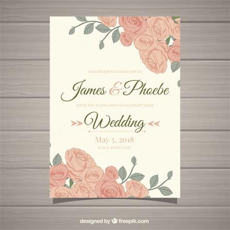 wedding invitation freepik vintage wedding invitation with beautiful flowers vector free