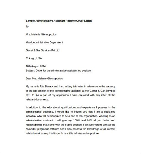 cover letter for resume administrative assistant sle resume cover letter template 7 free documents in