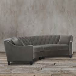horchow replica gray velvet button tufted curved sectional
