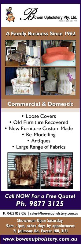 Bowen Upholstery Bowen Upholstery Upholstery 71 Jolimont Rd Forest Hill