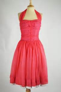 1950s vintage dress coral nylon ruched bodice amp diamante