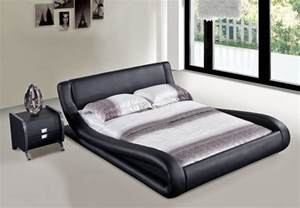 Black Leather Platform Bed Oliver Black Leather Platform Bed