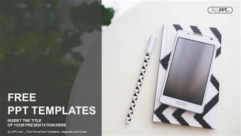 mobile ppt themes free download notebook pen and mobile phone powerpoint templates
