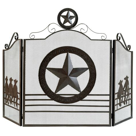 rustic texas style lone star hearth folk art fireplace