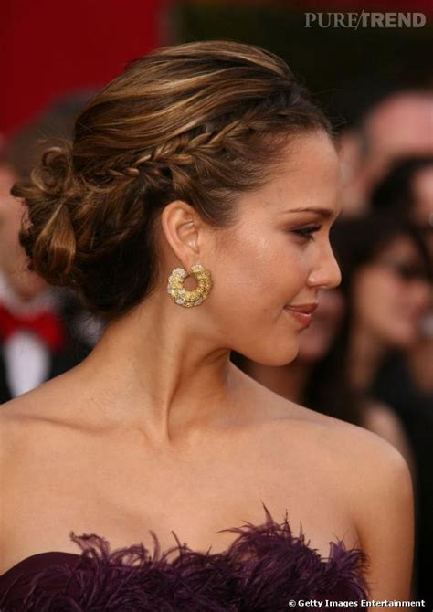 up hairstyles fpr black tie event 5 chignons chic pour les f 234 tes jessica alba adopte le