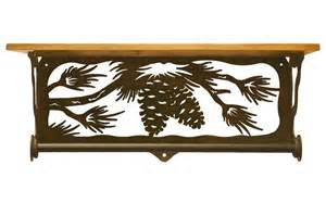 pine cone towel bar 20 quot pine cone branch metal towel bar with alder wood top
