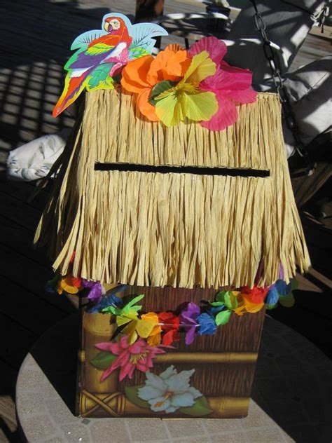 tiki hut valentine box tiki hut graduation party card box for a hawaiian theme
