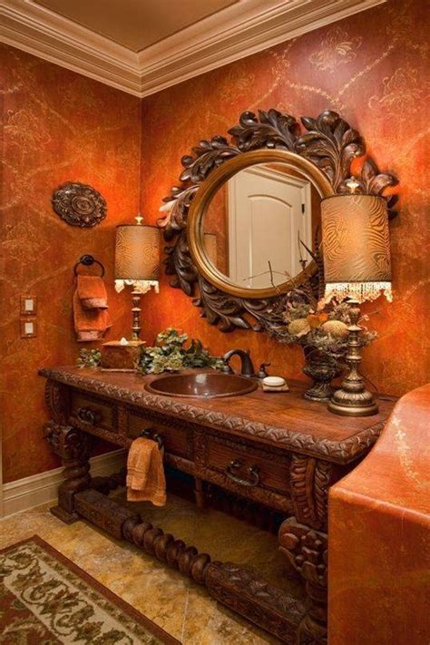 Round ornate mirror, tuscan luxury bathrooms tuscan