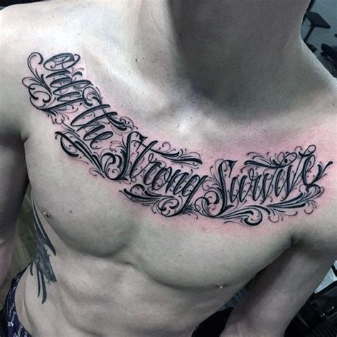 chest quote tattoo designs  men phrase ink ideas