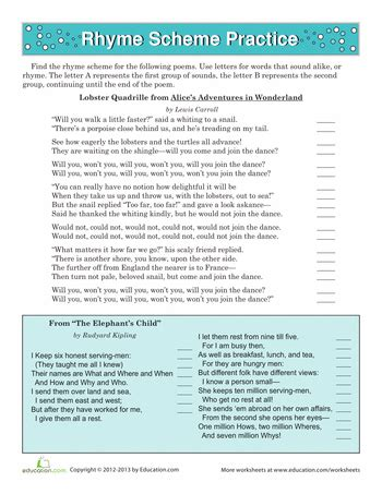 year 1 literacy pattern and rhyme rhyme scheme practice worksheets school and literacy