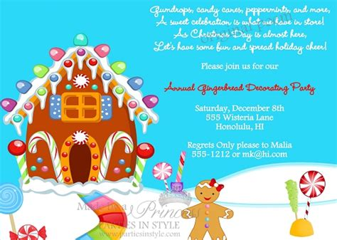 gingerbread decorating christmas holiday party invitation