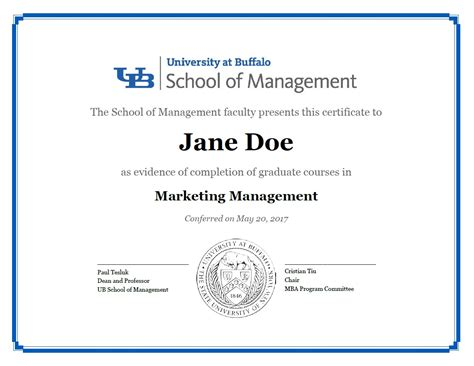 Duke Mba With A Concentration Diploma by Certificates School Of Management At Buffalo