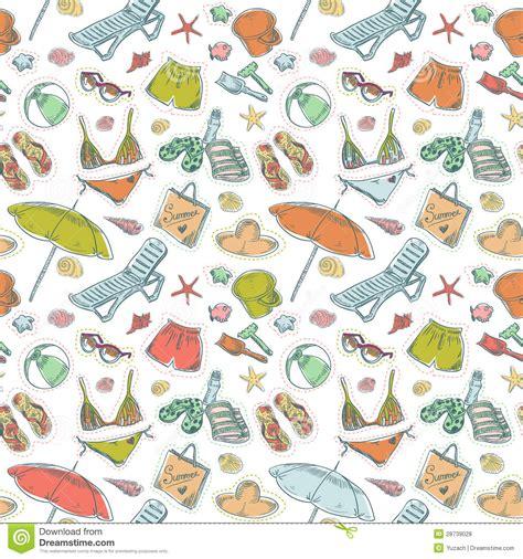 seamless pattern summer summer beach set seamless pattern royalty free stock