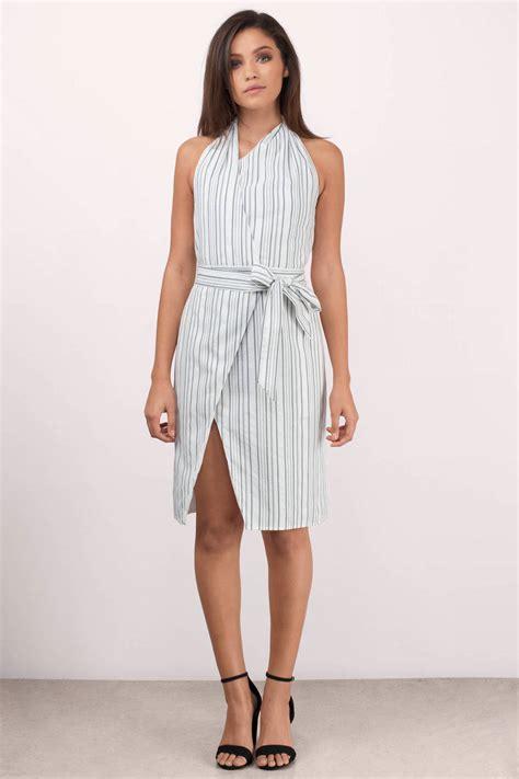 Malvina Midi Dress Grey White grey linear midi dress backless dress grey dress