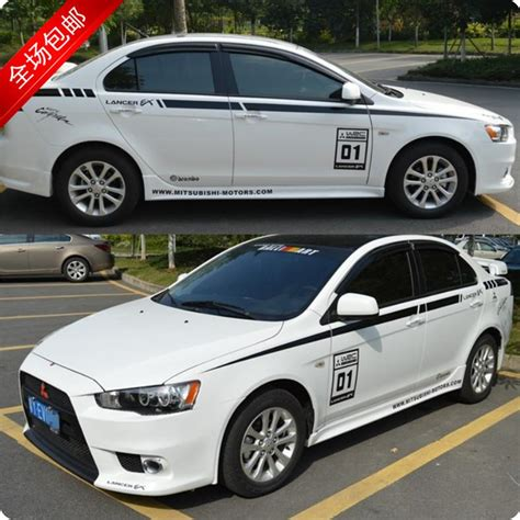 mitsubishi car white mitsubishi wing god waistline white car stickers affixed