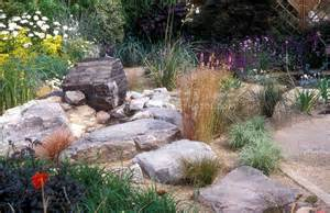 Where To Buy Rocks For Garden Rock Garden With Drought Tolerant Plants Large Stones Plant Flower Stock Photography