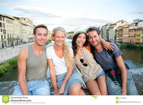 Two Couples Friends Of On Travel Vacation Stock Photos