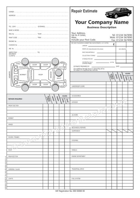 collision repair estimate template auto repair shop forms 2017 2018 best cars reviews