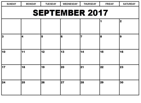 september 2017 calendar fillable calendar template