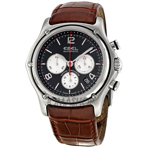 ebel 1911 black chronograph brown leather s