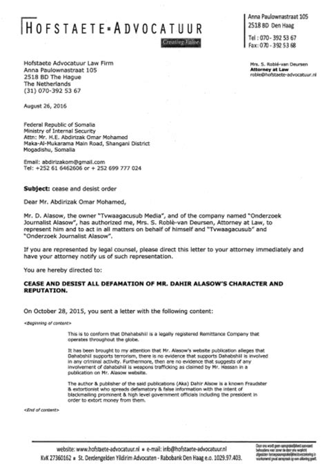 Demand Letter Libel somali security minister cease and desist your unlawful