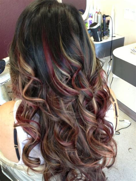 Best 25 red peekaboo highlights ideas on pinterest plum hair colour colored highlights and